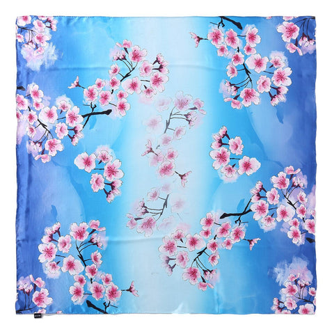 Extra Large Square Silk Scarf Blue Theme Floral Print DFD207