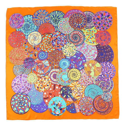 Yangtze Store Extra Large Square Silk Scarf Orange Theme Circles Print DFL124