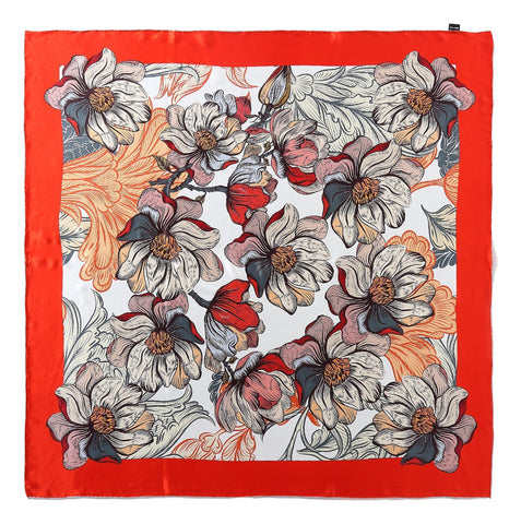 Yangtze Store Extra Large Square Silk Scarf Orange Theme Classic Art Print DFD203