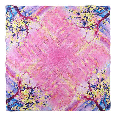 Yangtze Store Extra Large Square Silk Scarf Pink and Blue Theme Floral Print DFD206