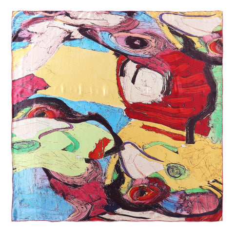Extra Large Square Silk Scarf Red and Yellow Abstract Print DFD208