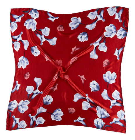 Yangtze Store Extra Large Square Silk Scarf Red Theme Flower Print DFD306