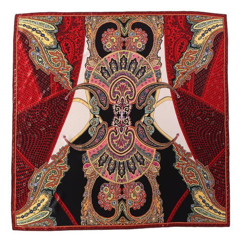 Yangtze Store Extra Large Square Silk Scarf Red Theme Paisley Print DFL129