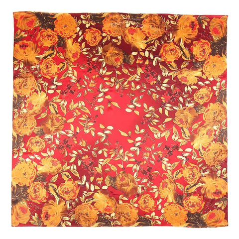 Yangtze Store Extra Large Square Silk Scarf Red Theme Roses Print DFL122