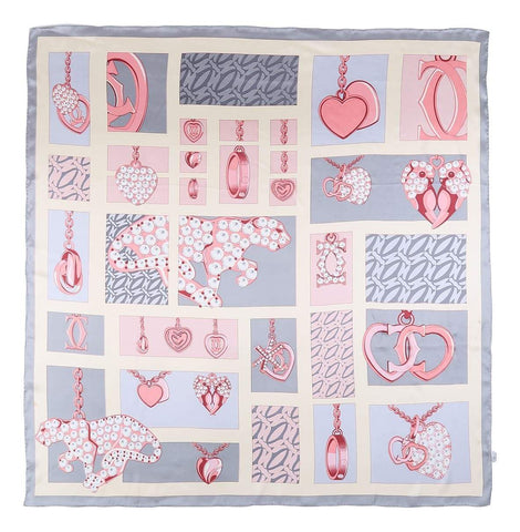 Yangtze Store Extra Large Square Silk Scarf Silver and Pink Heart Print DFL121