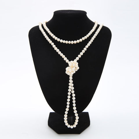 "Yangtze Store Extra Long 63"" Freshwater Pearl Endless Necklace Pure White PN210"