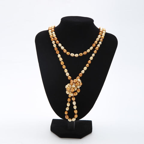 "Yangtze Store Extra Long 79"" Freshwater Pearl Endless Necklace Ivory and Gold PN217"