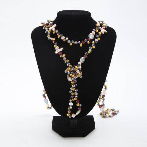 "Yangtze Store Extra Long 79"" Freshwater Pearl Endless Necklace Mixed Color PN216"