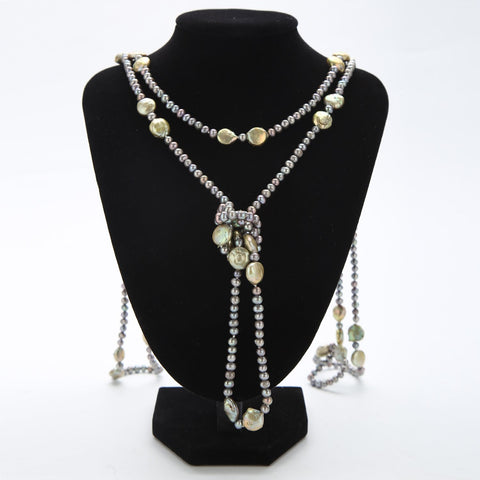 "Yangtze Store Extra Long 79"" Freshwater Pearl Endless Necklace Mixed Color PN219"