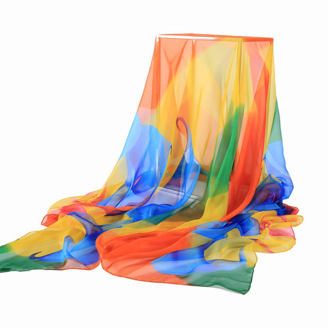 Yangtze Store Extra Long Extra Wide Chiffon Scarf Beach Scarf Blue and Orange CHD322