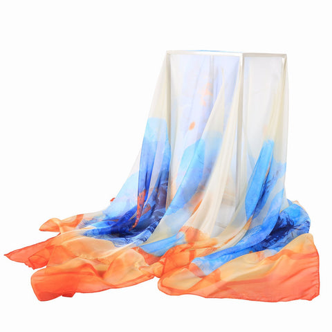Yangtze Store Extra Long Extra Wide Chiffon Scarf Beach Scarf Blue and Orange Painting CHD325