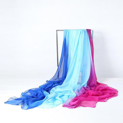 Yangtze Store Extra Long Extra Wide Chiffon Scarf Beach Scarf Blue and Pink CHD309
