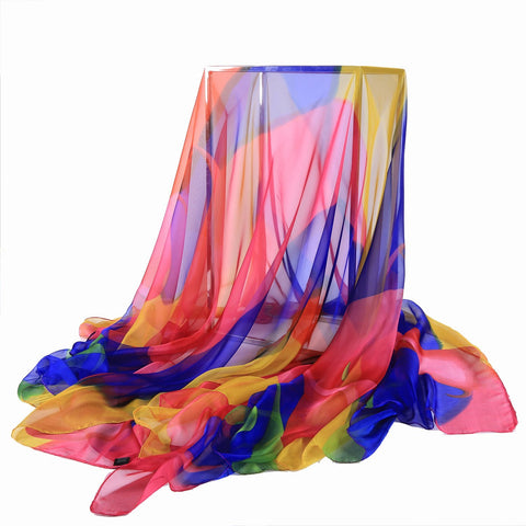 Yangtze Store Extra Long Extra Wide Chiffon Scarf Beach Scarf Blue and Pink CHD321