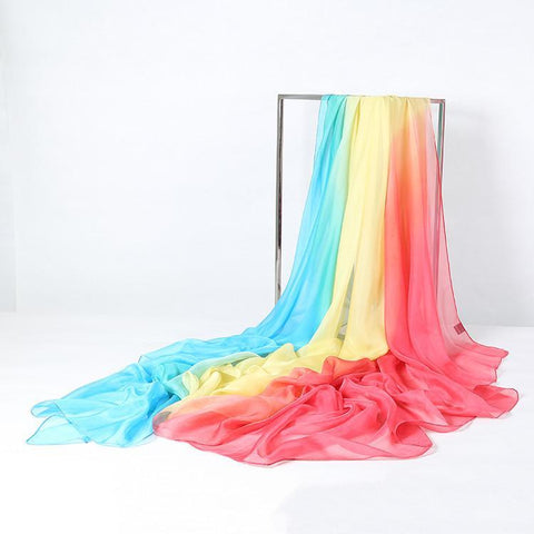 Yangtze Store Extra Long Extra Wide Chiffon Scarf Beach Scarf Blue Yellow and Red CHD310