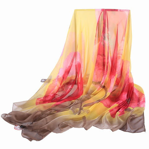 Yangtze Store Extra Long Extra Wide Chiffon Scarf Beach Scarf Brown and Pink Floral Print CHD327