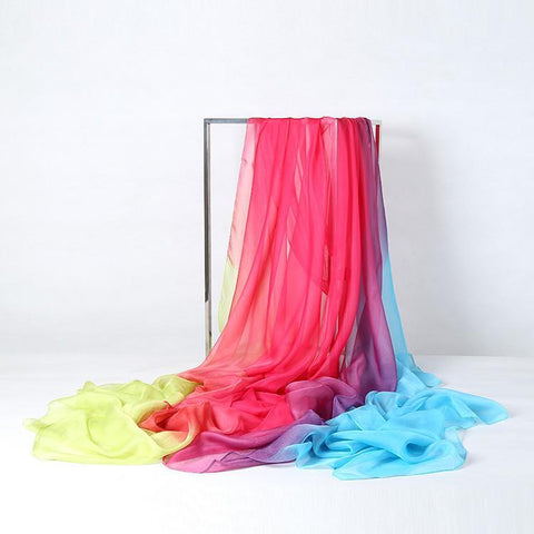 Yangtze Store Extra Long Extra Wide Chiffon Scarf Beach Scarf Pink Purple and Blue CHD308