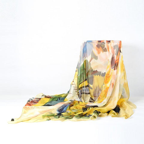 Yangtze Store Extra Long Extra Wide Chiffon Scarf Beach Scarf Yellow and Brown Theme CHD307