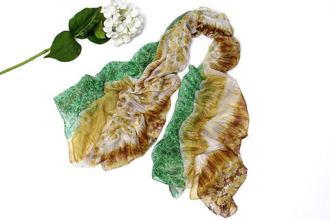 Yangtze Store Extra Long Extra Wide Chiffon Scarf/Shawl Green and Yellow Floral Print CHD203