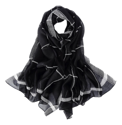 Yangtze Store Extra Long Extra Wide Silk and Wool Blend Shawl Wrap Scarf Black Theme Plaid Print SWO103