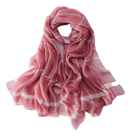 Yangtze Store Extra Long Extra Wide Silk and Wool Blend Shawl Wrap Scarf Pink Theme Plaid Print SWO102