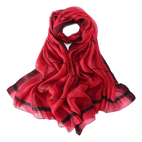 Yangtze Store Extra Long Extra Wide Silk and Wool Blend Shawl Wrap Scarf Red Theme Plaid Print SWO104