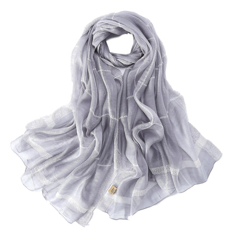 Yangtze Store Extra Long Extra Wide Silk and Wool Blend Shawl Wrap Scarf Silver Theme Plaid Print SWO105
