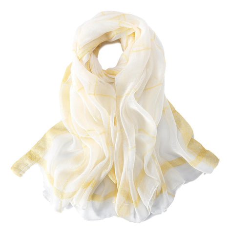 Yangtze Store Extra Long Extra Wide Silk and Wool Blend Shawl Wrap Scarf White Theme Plaid Print SWO101