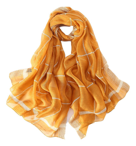 Yangtze Store Extra Long Extra Wide Silk and Wool Blend Shawl Wrap Scarf Yellow Theme Plaid Print SWO106