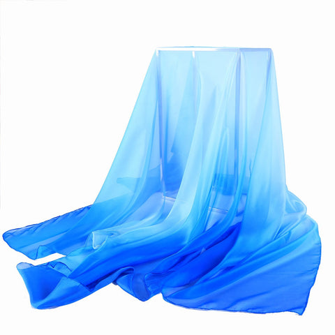 Yangtze Store Extra Wide Chiffon Scarf Beach Scarf Gradient Blue Color CHD409