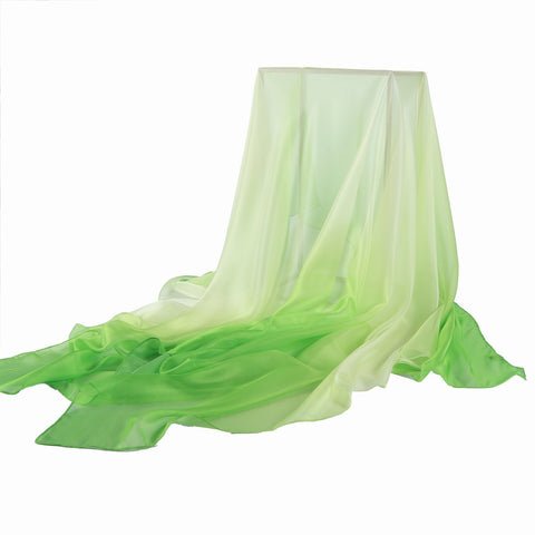 Yangtze Store Extra Wide Chiffon Scarf Beach Scarf Gradient Green Color CHD402