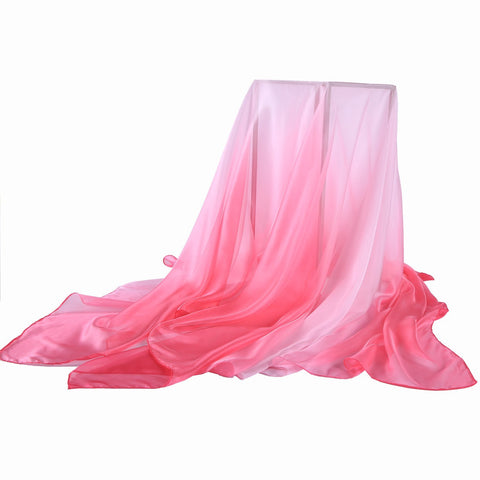 Yangtze Store Extra Wide Chiffon Scarf Beach Scarf Gradient Pink Color CHD406