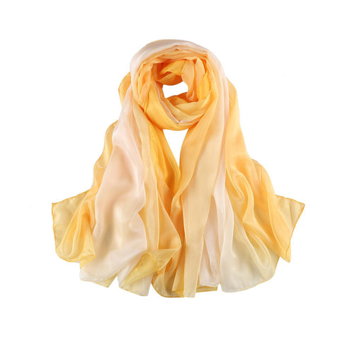 Yangtze Store Extra Wide Chiffon Scarf Beach Scarf Gradient Yellow Color CHD407