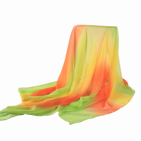 Yangtze Store Extra Wide Chiffon Scarf Beach Scarf Green Yellow and Orange CHD405