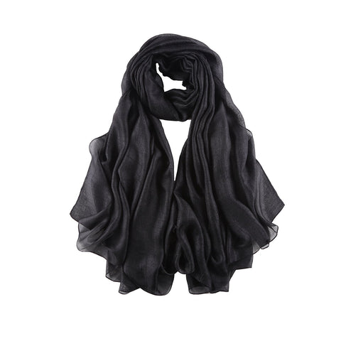 Yangtze Store Extra Wide Flax Feel Scarf Solid Black Color FLX008