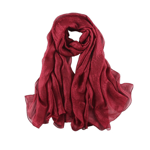 Yangtze Store Extra Wide Flax Feel Scarf Solid Burgundy Color FLX004