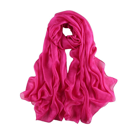 Yangtze Store Extra Wide Flax Feel Scarf Solid Fuchsia Color FLX009