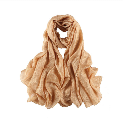 Yangtze Store Extra Wide Flax Feel Scarf Solid Gold Color FLX001