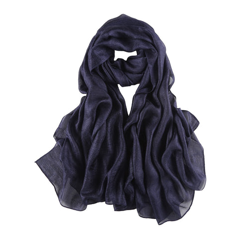 Yangtze Store Extra Wide Flax Feel Scarf Solid Navy Color FLX005