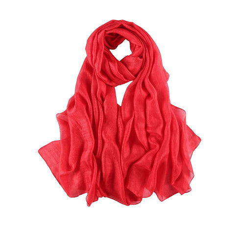 Yangtze Store Extra Wide Flax Feel Scarf Solid Red Color FLX007