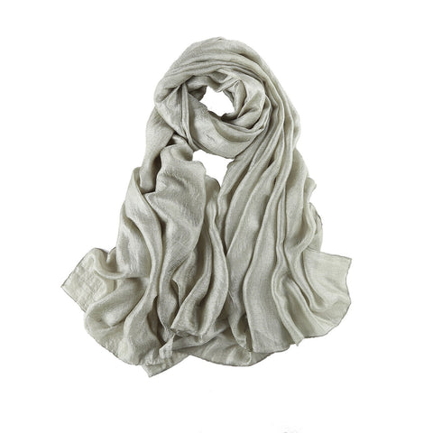 Yangtze Store Extra Wide Flax Feel Scarf Solid Silver Color FLX002