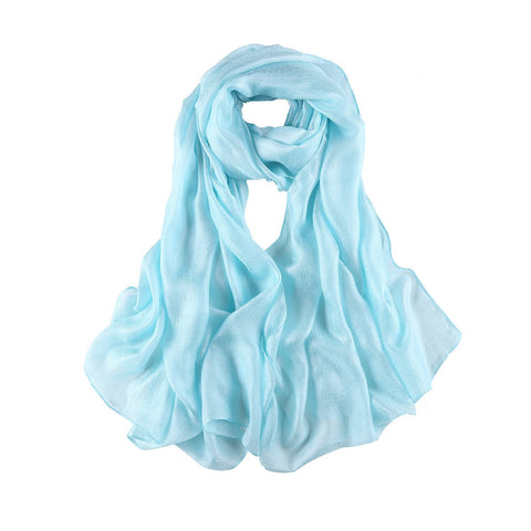 Yangtze Store Extra Wide Flax Feel Scarf Solid Turquoise Color FLX006