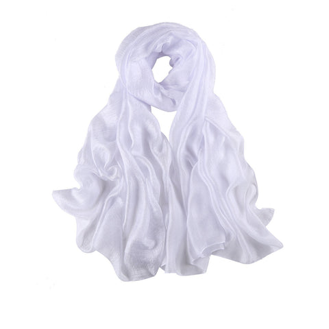 Yangtze Store Extra Wide Flax Feel Scarf Solid White Color FLX003