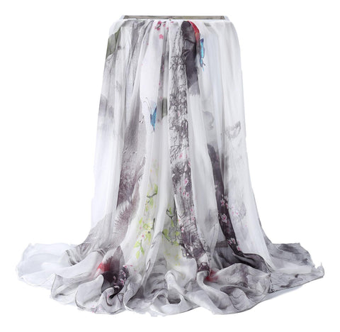 Yangtze Store Extra Wide High Quality Silk Chiffon Scarf Black and White Floral Print SCH513