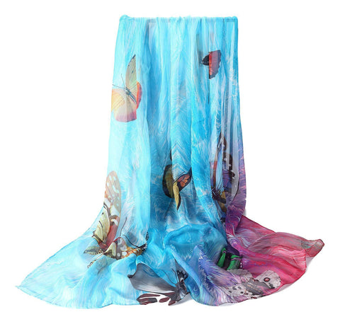 Yangtze Store Extra Wide High Quality Silk Chiffon Scarf Blue Theme Butterfly Print SCH502