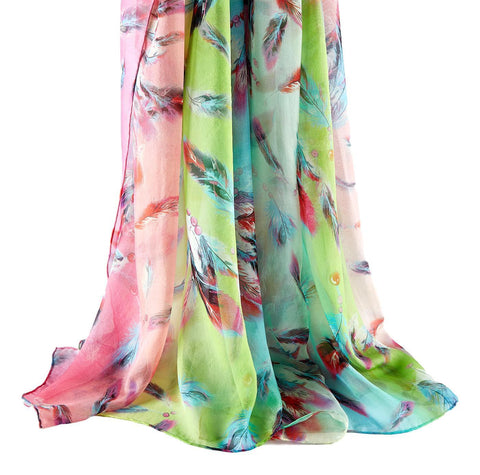 Yangtze Store Extra Wide High Quality Silk Chiffon Scarf Green Theme Feathers Print SCH604