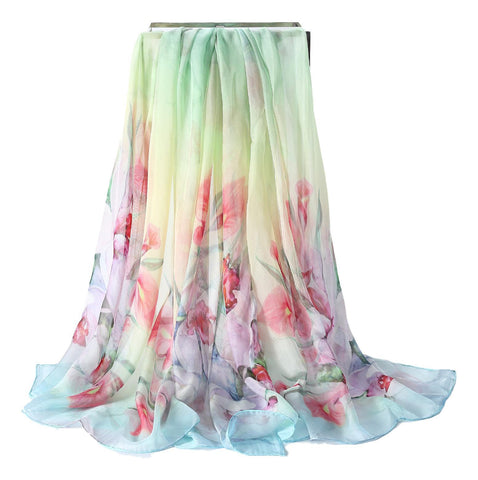 Yangtze Store Extra Wide High Quality Silk Chiffon Scarf Light Blue and green Floral Print SCH512