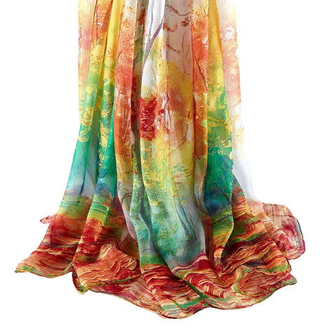 Yangtze Store Extra Wide High Quality Silk Chiffon Scarf Maroon and Green Floral Print SCH606