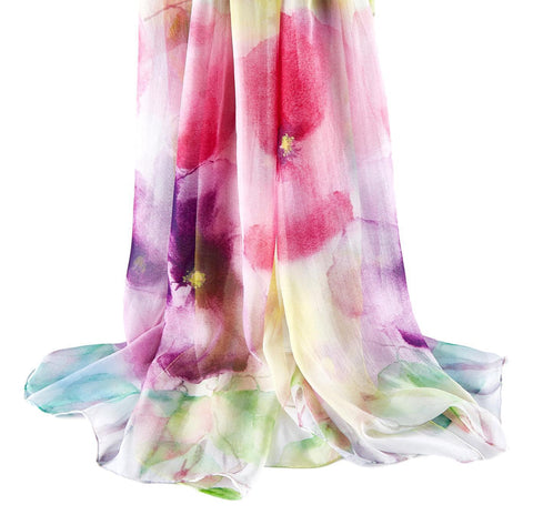 Yangtze Store Extra Wide High Quality Silk Chiffon Scarf Pink and Purple Floral Print SCH605