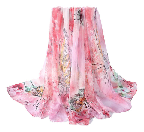 Yangtze Store Extra Wide High Quality Silk Chiffon Scarf Pink Theme Butterfly Print SCH509