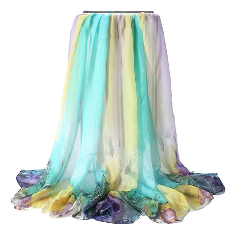 Yangtze Store Extra Wide High Quality Silk Chiffon Scarf Purple and Green Coral Print SCH515